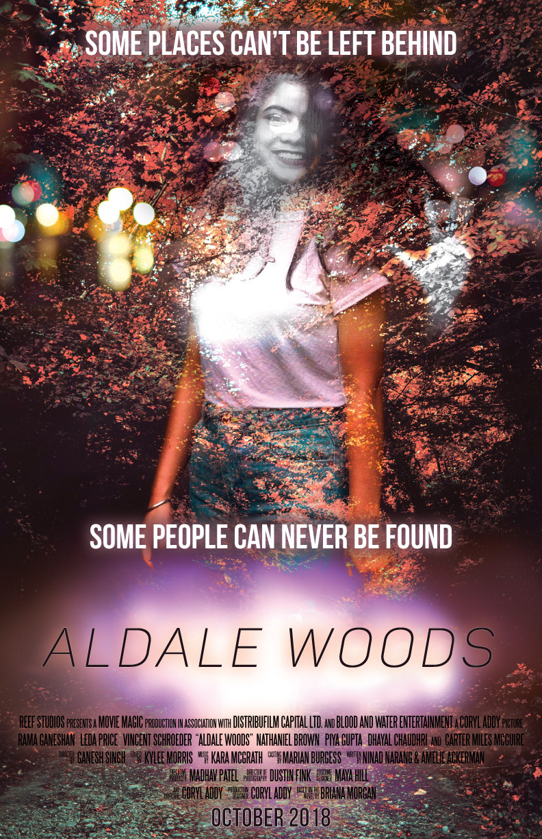 "Movie poster in orange and pink with a smiling girl, for a movie titled Aldale Woods. Taglines say ""Some places can't be left behind. Some people can never be found."""