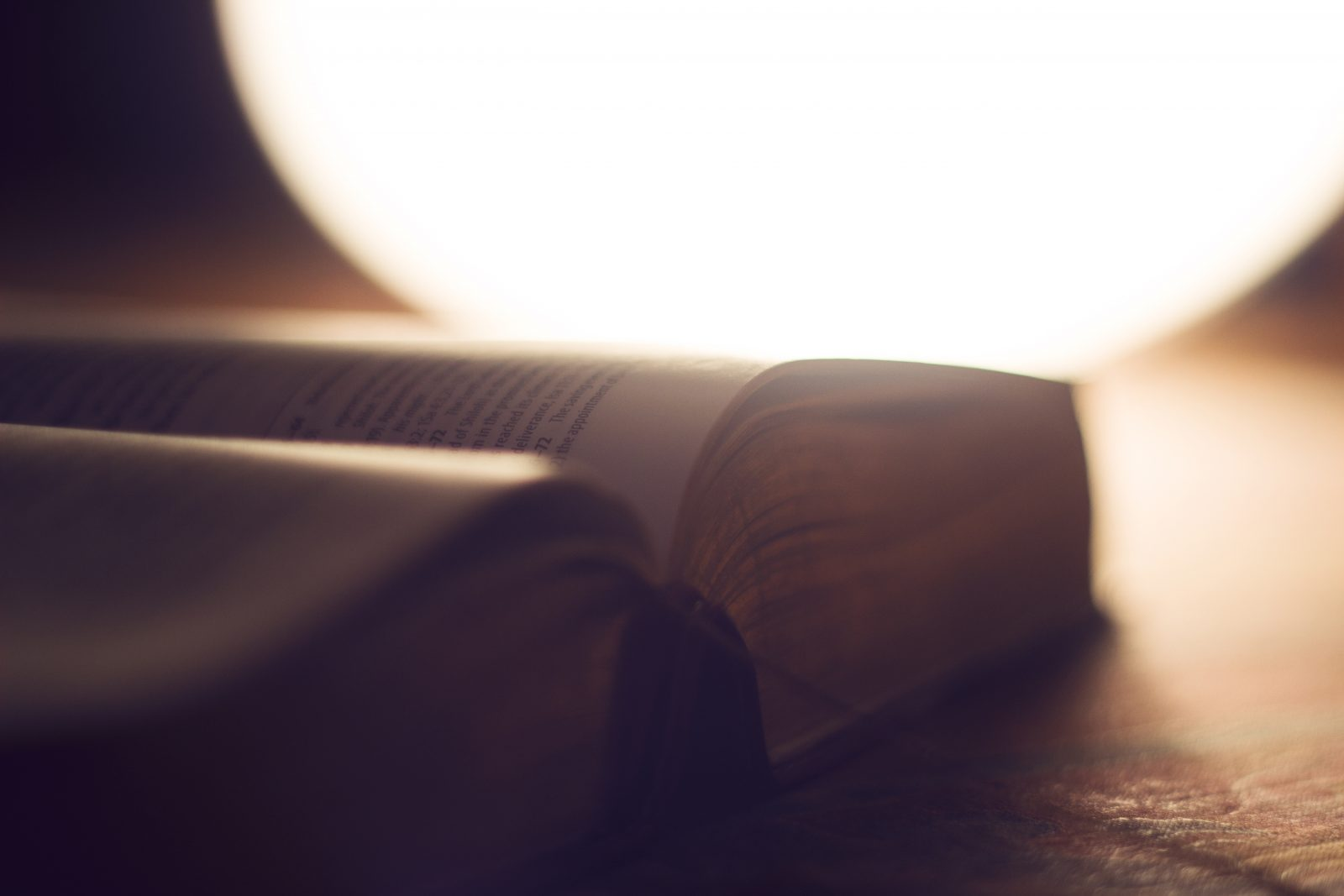 A close-up of an open book in front of a warm light