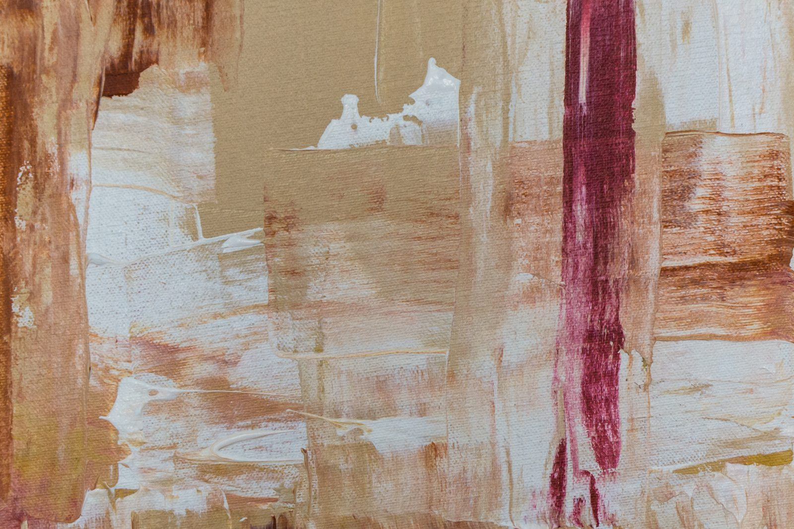 An abstract painting with rough brush strokes in browns, with a red stripe on the right