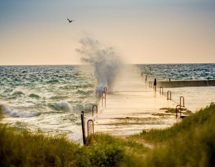 brown wooden dock beside ocean wave